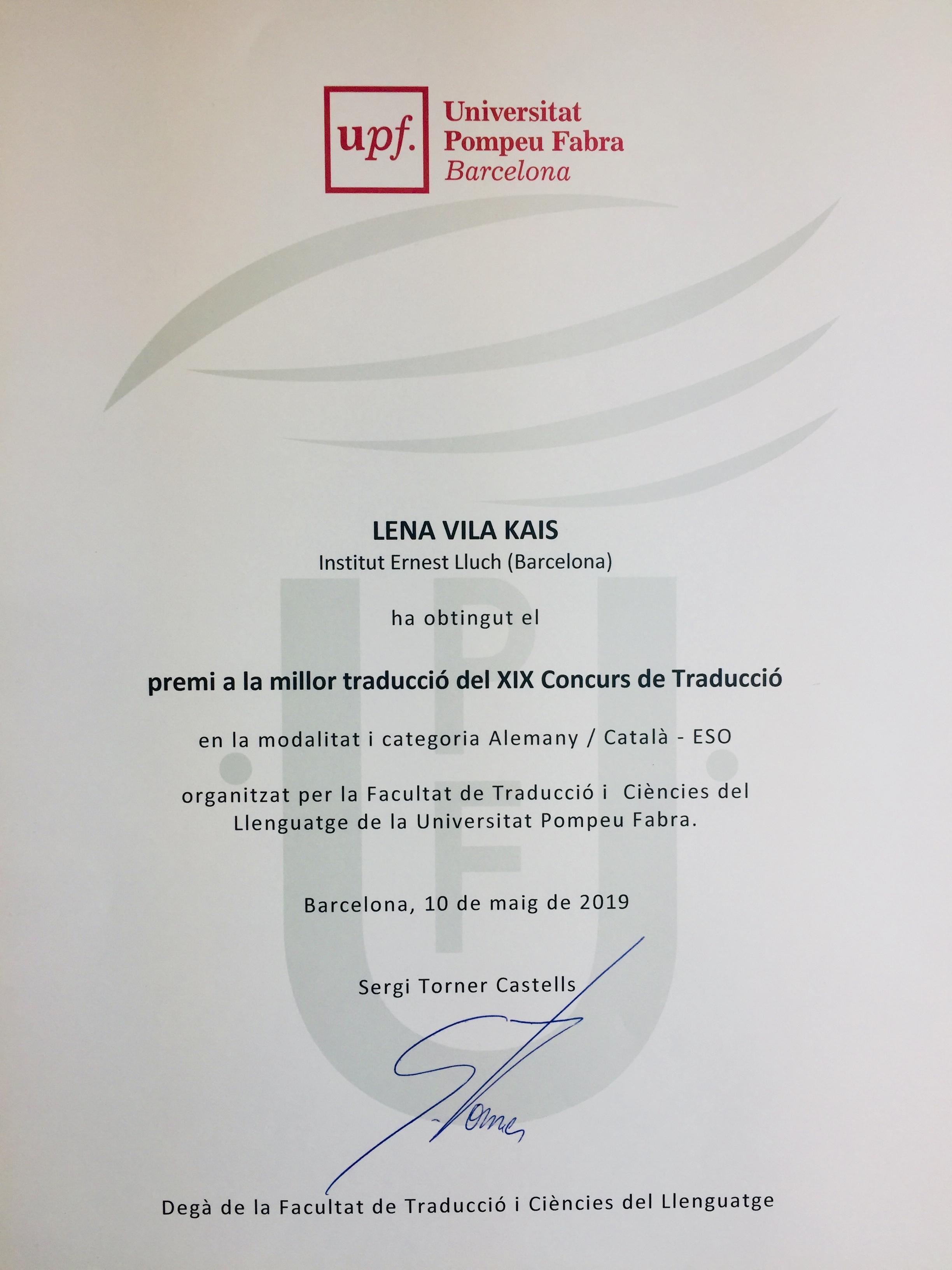 Diploma de l'alumna Lena Vila